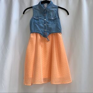 Justice Peach Poka-dot Dress with Vest